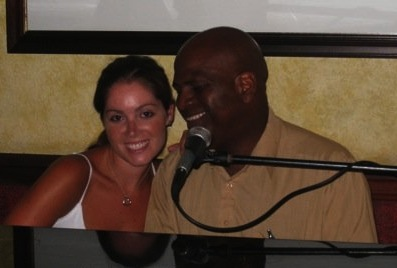 Singing a duet at our resort's piano bar in St. Lucia