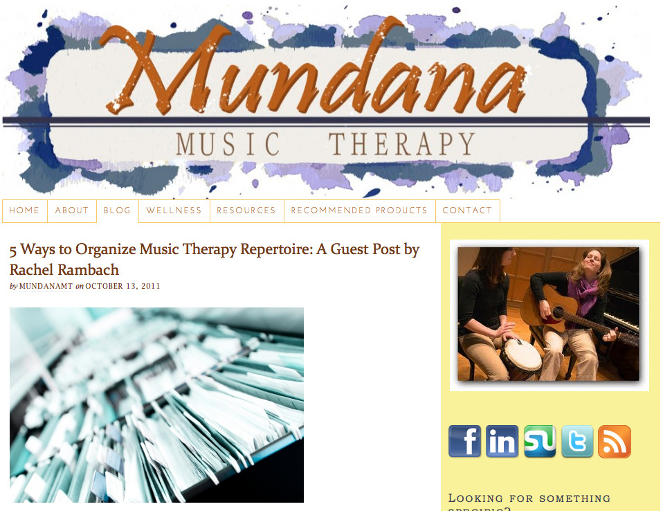 Guest Post at Mundana Music Therapy