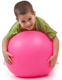 Child on therapy ball