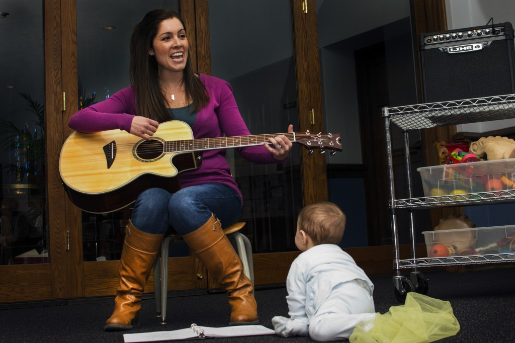 Mama and baby mouse at music class