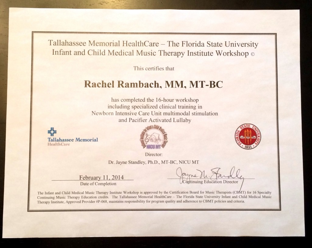 NICU Music Therapy Certificate