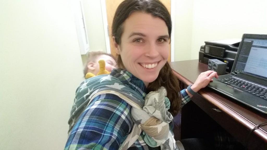 Natalie Mullis Babywearing at Work