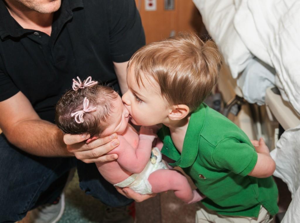 Parker meets baby Mia
