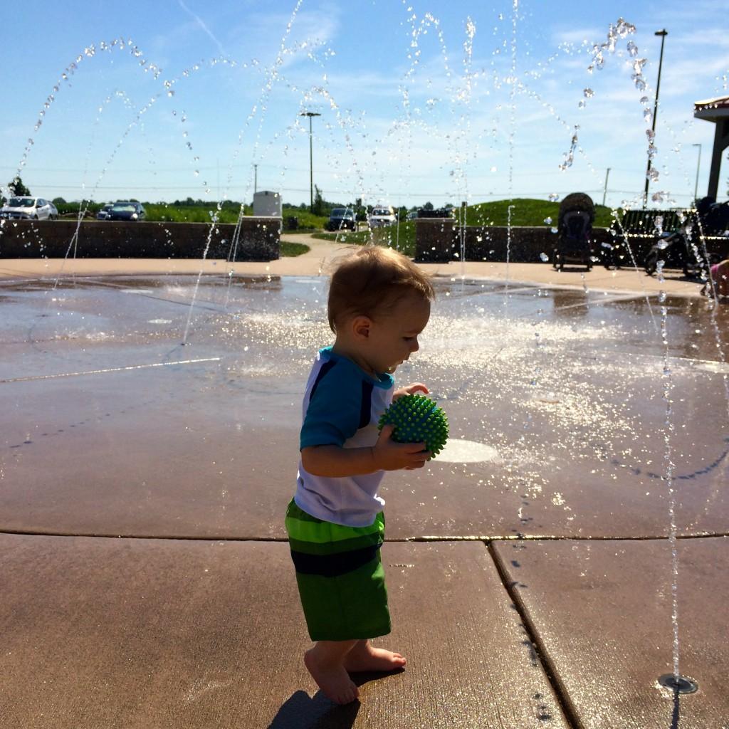 Parker at the Splash Pad