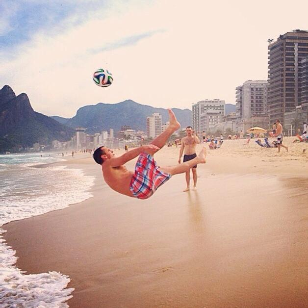 Zach Playing Soccer on the Beach in Brazil