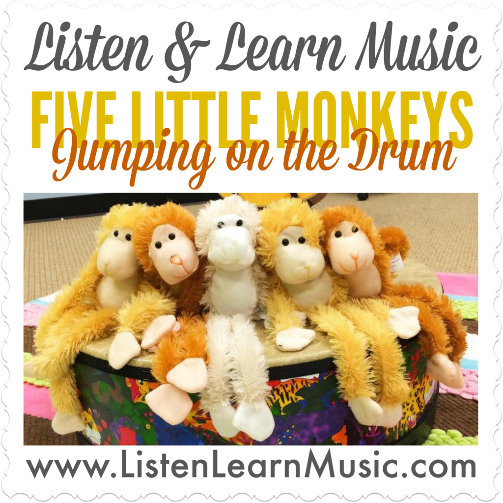Five Little Monkeys Jumping on the Drum | Movement Prop and Instrument Song for Children | Early Childhood Music Class